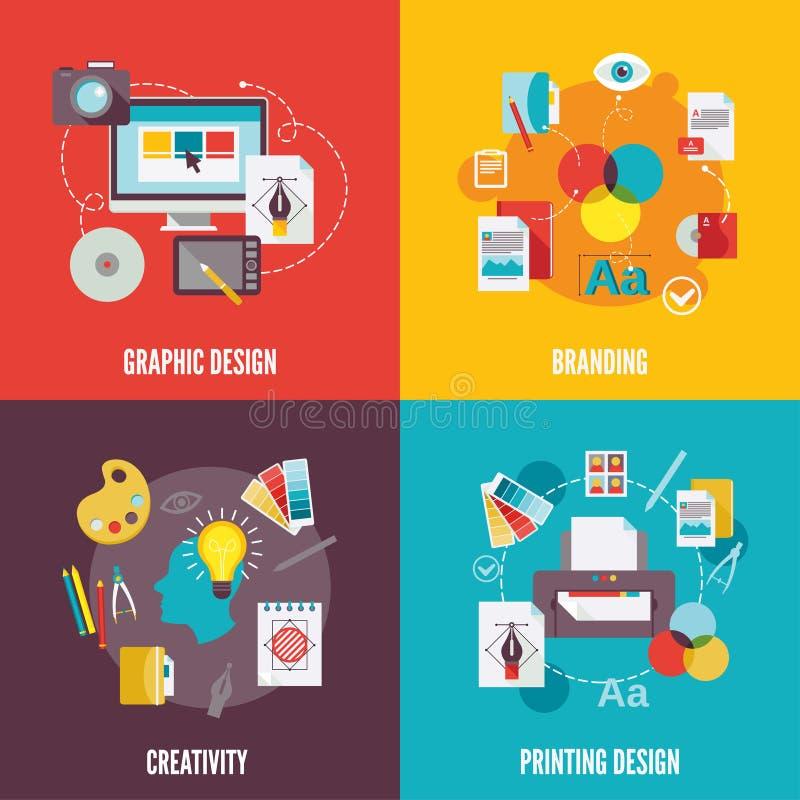 Icone di progettazione grafica piane illustrazione vettoriale