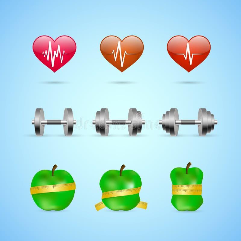 Icone di progresso di esercizi di forma fisica messe illustrazione vettoriale