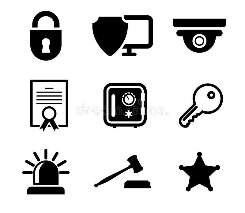 Icone di protezione e sicurezza messe illustrazione di stock