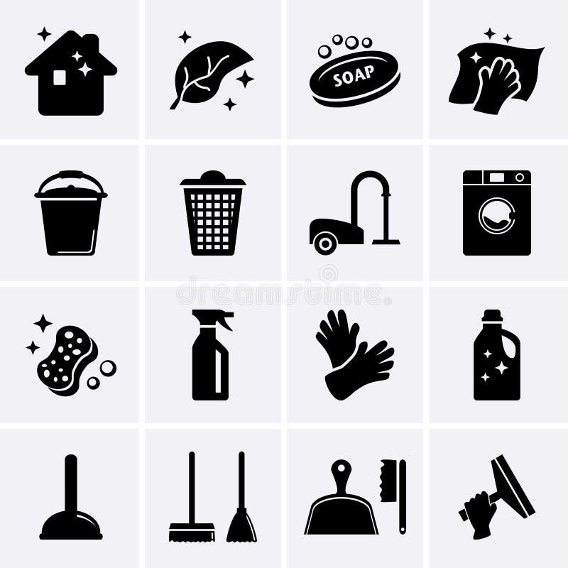 Icone di pulizia illustrazione vettoriale