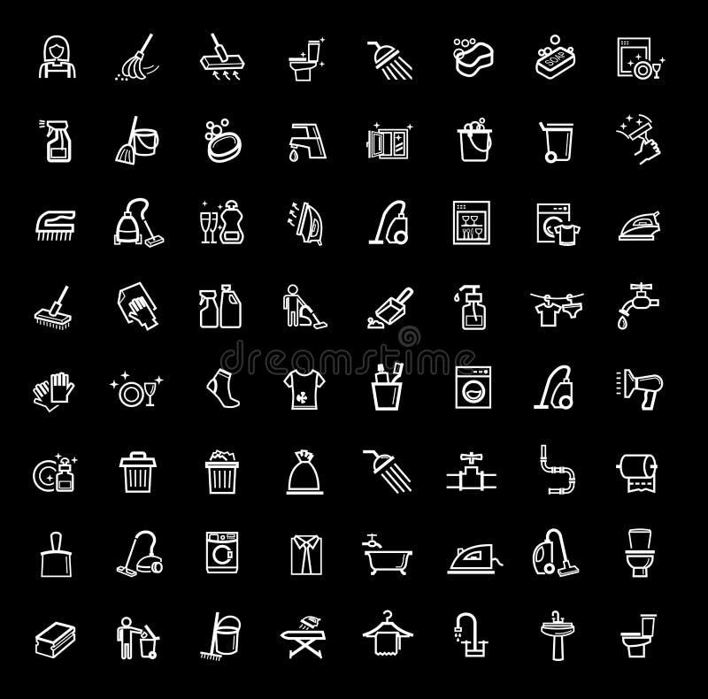 Icone di pulizia messe illustrazione vettoriale