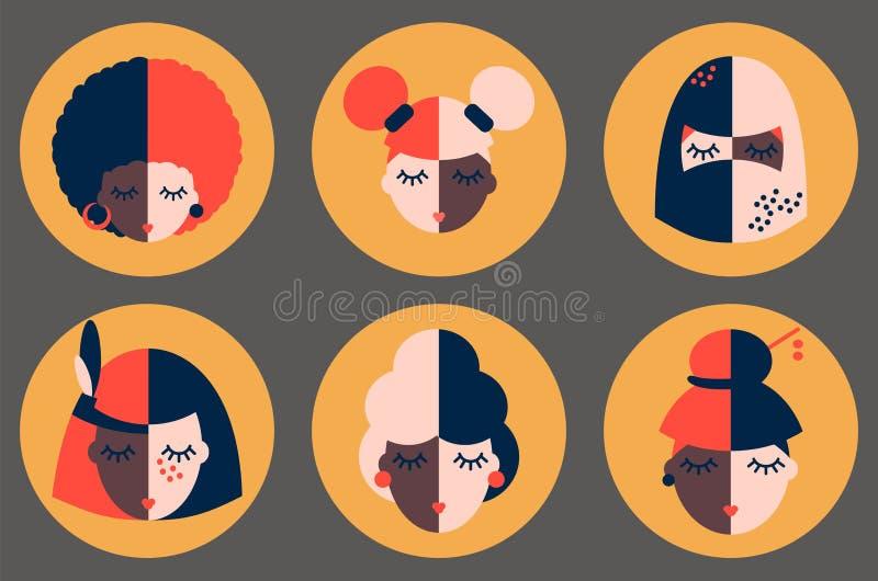 Icone di ragazze di diversi paesi illustrazione di stock