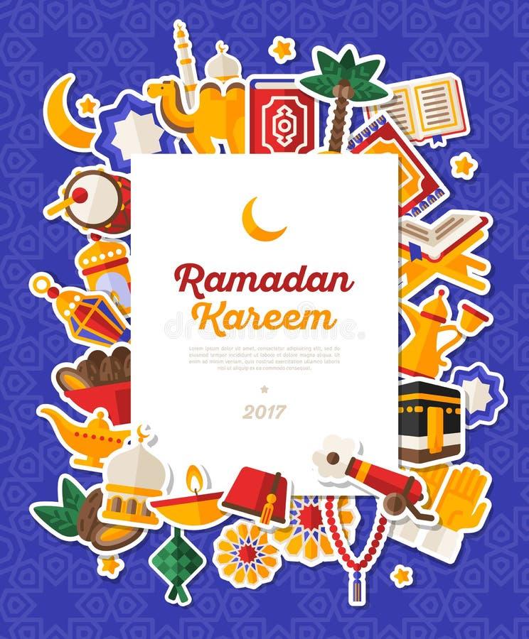 Icone di Ramadan Kareem Banner With Flat Sticker illustrazione di stock