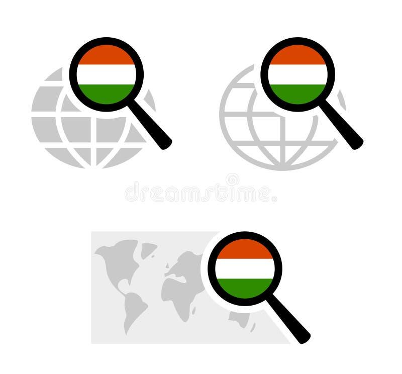 Icone di ricerca con la bandiera ungherese immagini stock