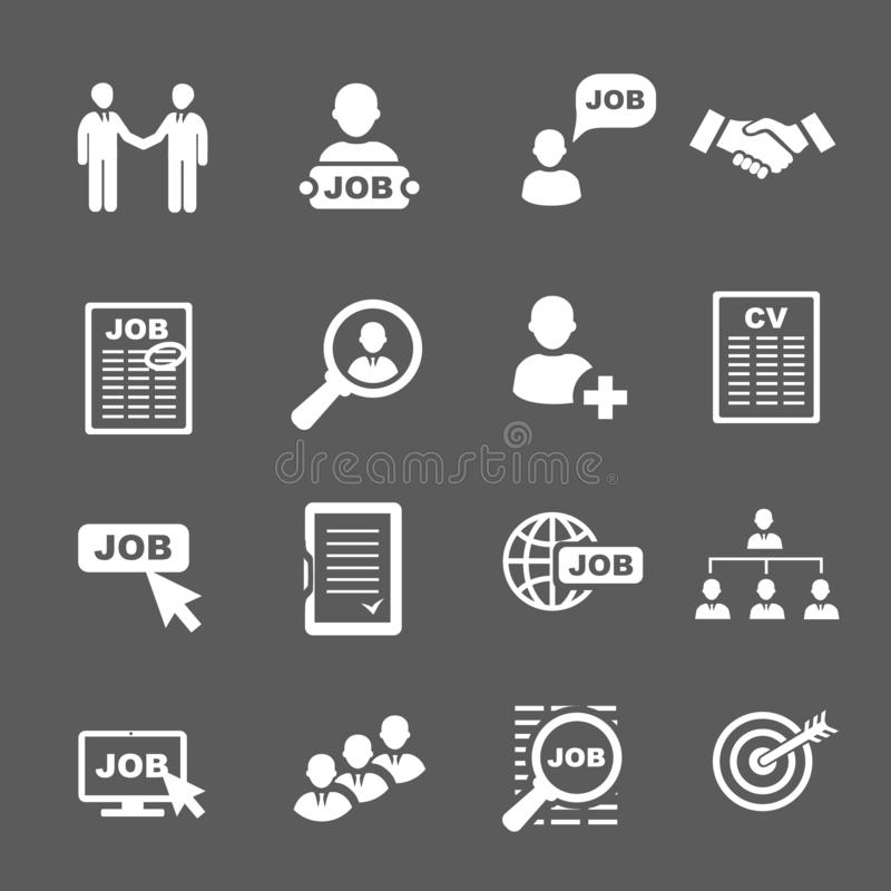 Icone di ricerca di lavoro e di occupazione Intervew del cv, del riassunto e di lavoro illustrazione di stock
