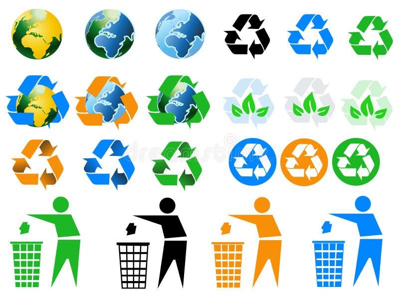 Icone di riciclaggio ambientali illustrazione vettoriale