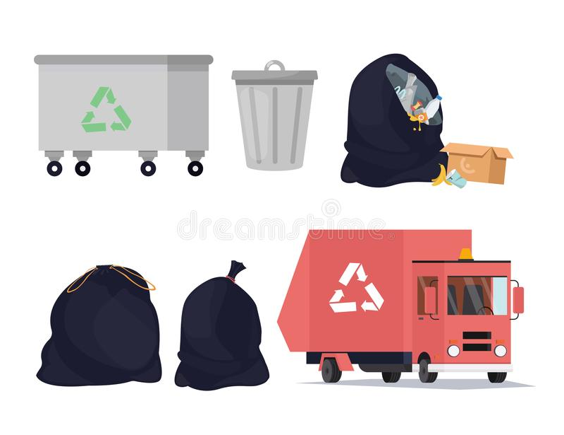 Icone di riciclaggio dei rifiuti messe Ordinando, processo di trasporto di immondizia, pattumiera Illustrazione di vettore illustrazione vettoriale