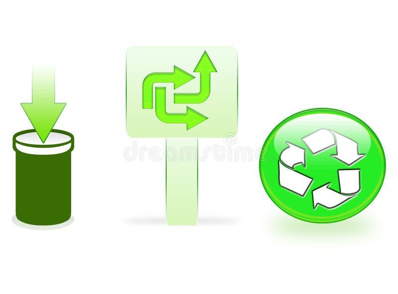 Icone di riciclaggio verdi illustrazione vettoriale
