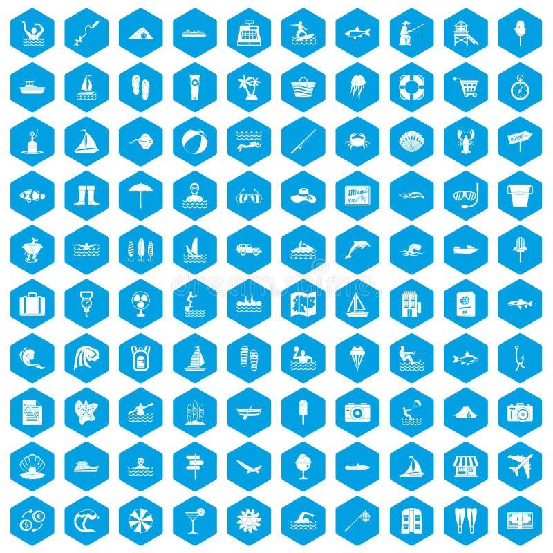 100 icone di ricreazione dell'acqua messe blu illustrazione di stock
