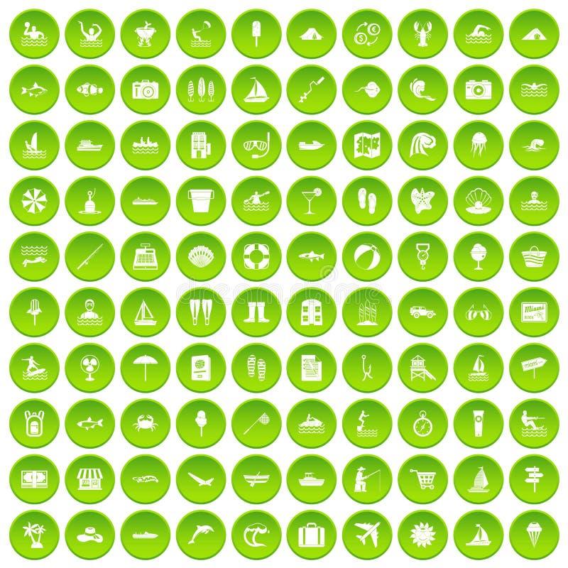 100 icone di ricreazione dell'acqua messe verdi illustrazione vettoriale