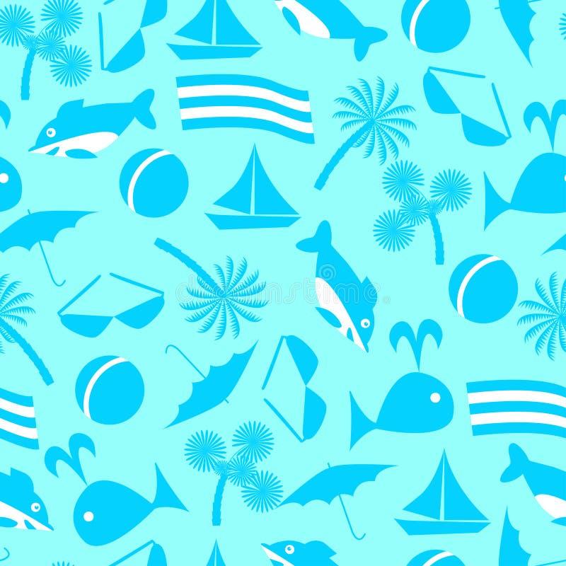 Icone di ricreazione marina Reticolo senza giunte di vettore royalty illustrazione gratis