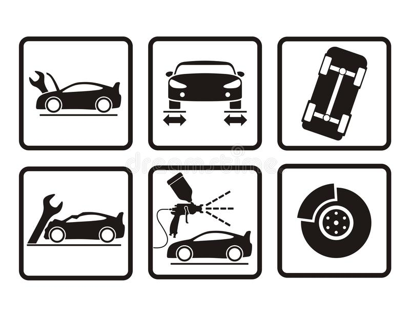 Icone di riparazione dell'automobile illustrazione di stock