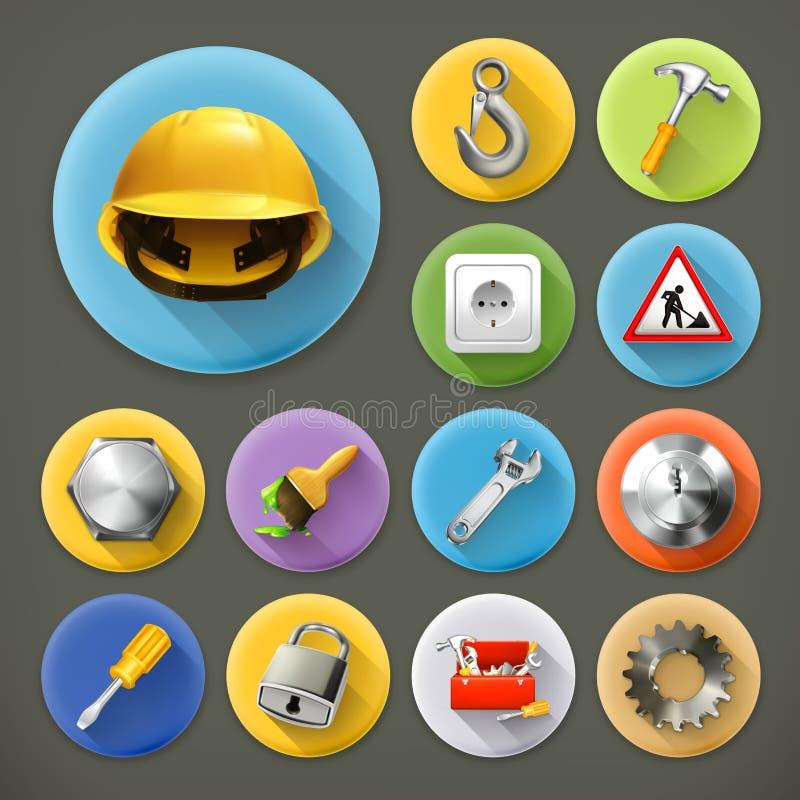 Icone di riparazione e di servizio illustrazione vettoriale