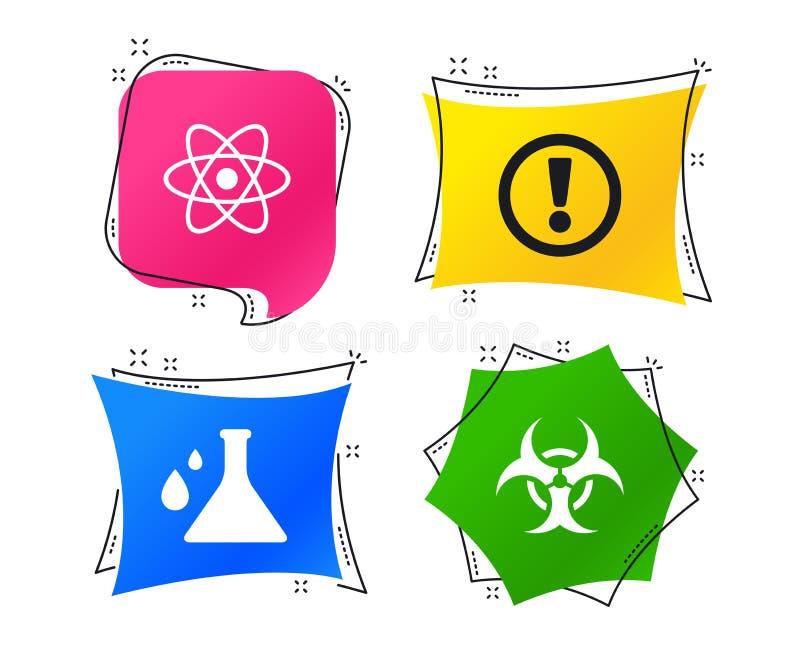 Icone di rischio biologico di attenzione Boccetta di chimica Vettore illustrazione di stock