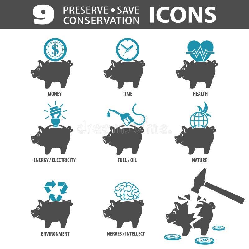 Icone di risparmi della prerogativa royalty illustrazione gratis