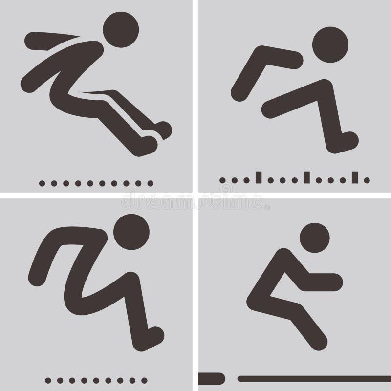 Icone di salto in lungo royalty illustrazione gratis