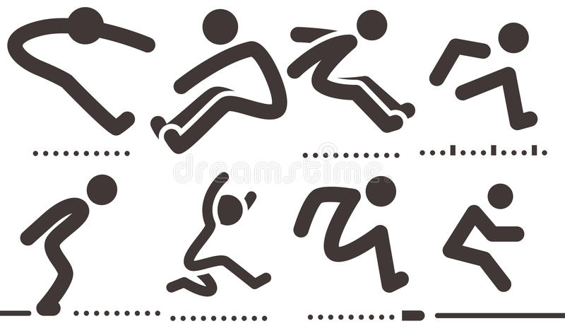 Icone di salto in lungo illustrazione vettoriale