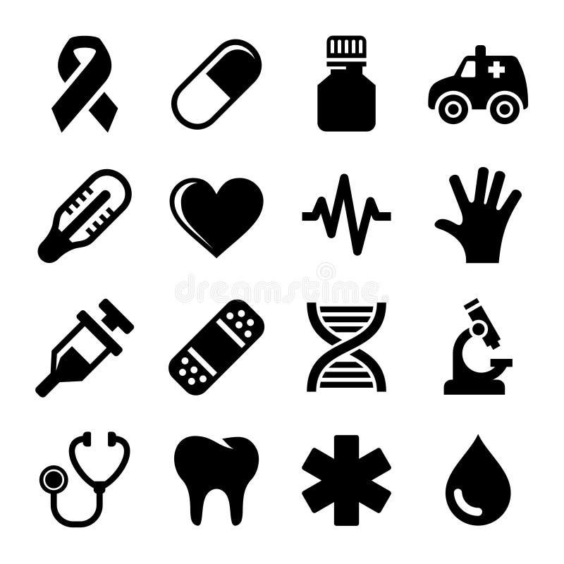 Icone di salute e mediche messe Vettore royalty illustrazione gratis
