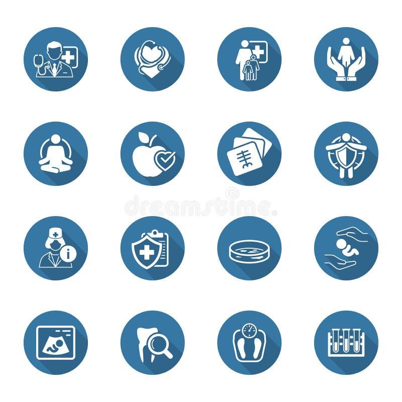 Icone di sanità e mediche messe Progettazione piana illustrazione vettoriale