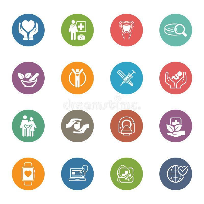 Icone di sanità e mediche messe Progettazione piana illustrazione di stock