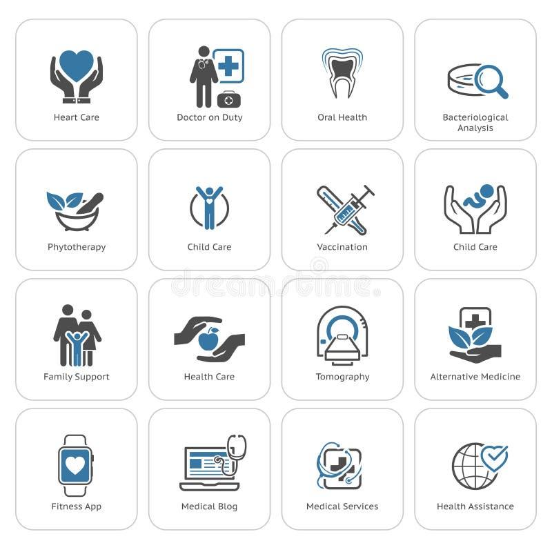 Icone di sanità e mediche messe Progettazione piana royalty illustrazione gratis