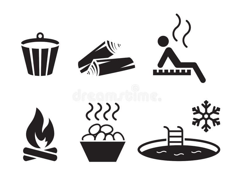 Icone di sauna messe royalty illustrazione gratis