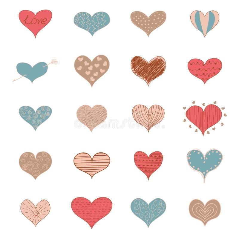 Icone di scarabocchi dei cuori romantici di amore di schizzo le retro hanno messo Valentine Day Vector Illustration royalty illustrazione gratis