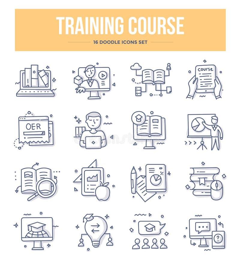 Icone di scarabocchio di corso di formazione royalty illustrazione gratis