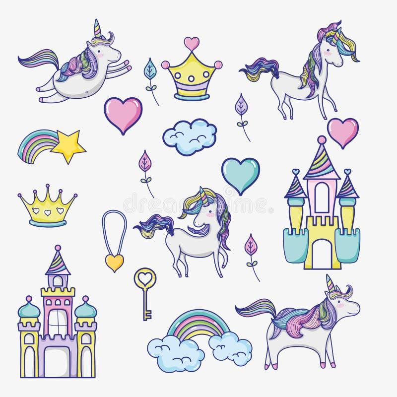 Icone di scarabocchio del mondo di magia e di fantasia royalty illustrazione gratis