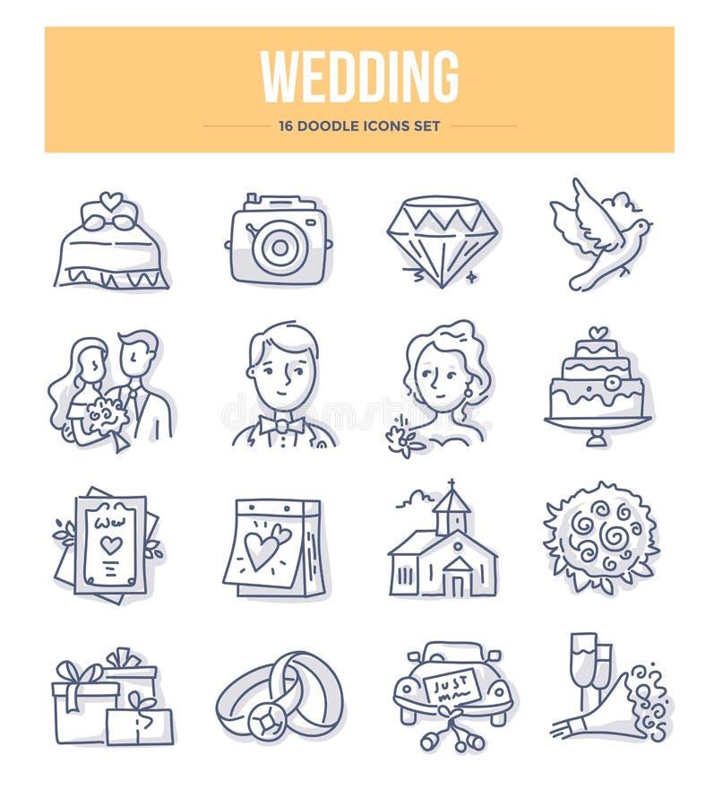 Icone di scarabocchio di nozze illustrazione vettoriale