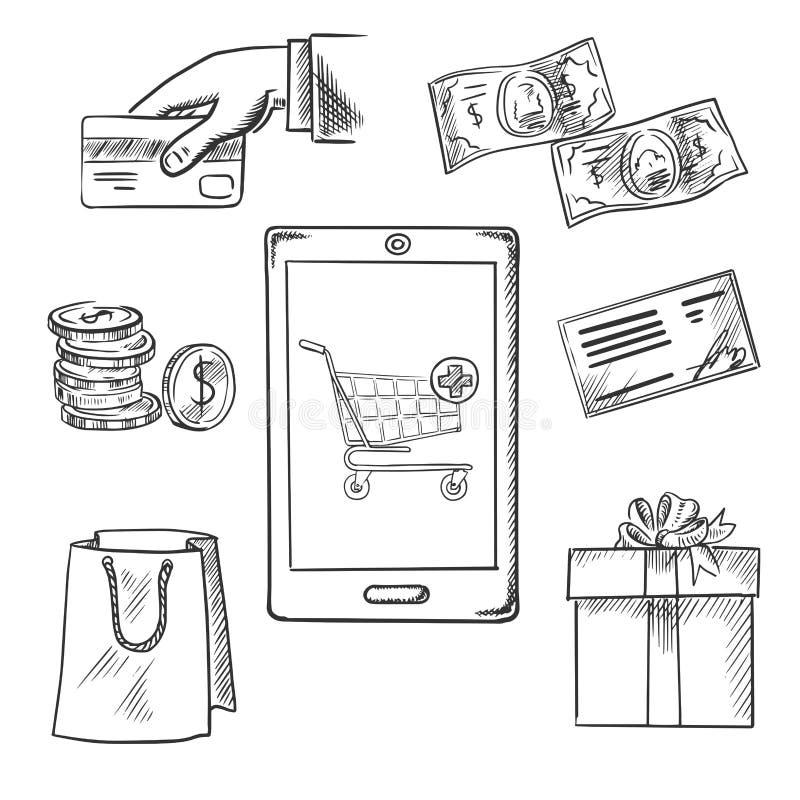 Icone di schizzo di acquisto e di commercio elettronico royalty illustrazione gratis