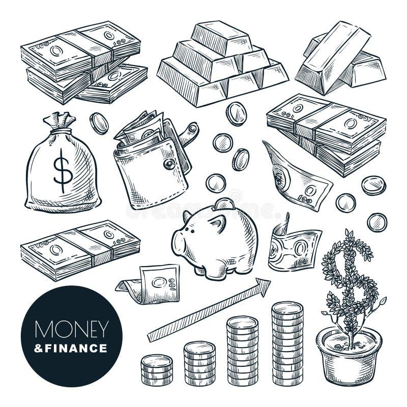 Icone di schizzo di vettore di finanza e dei soldi Elementi isolati disegnati a mano di progettazione della Banca, di pagamento,  illustrazione di stock