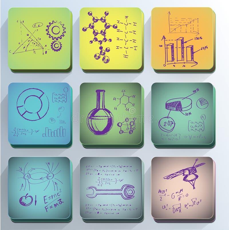 Icone di scienza. illustrazione di stock