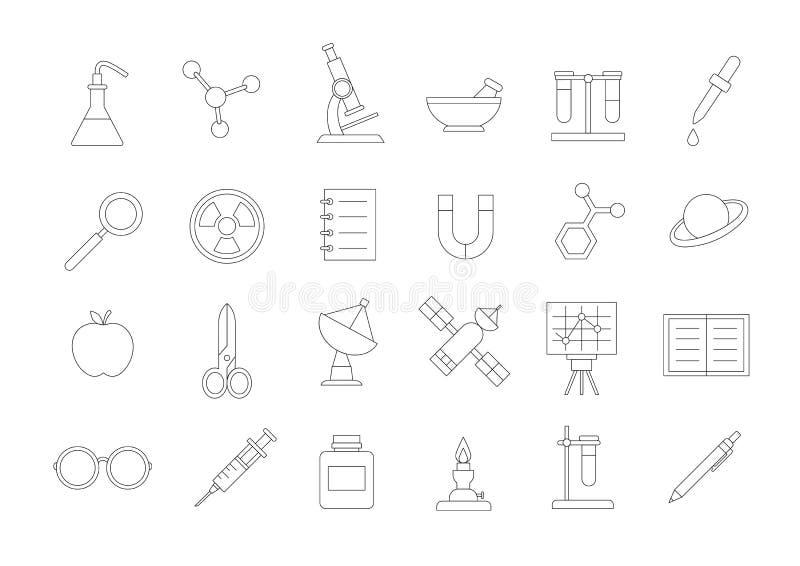 Icone di scienza messe royalty illustrazione gratis