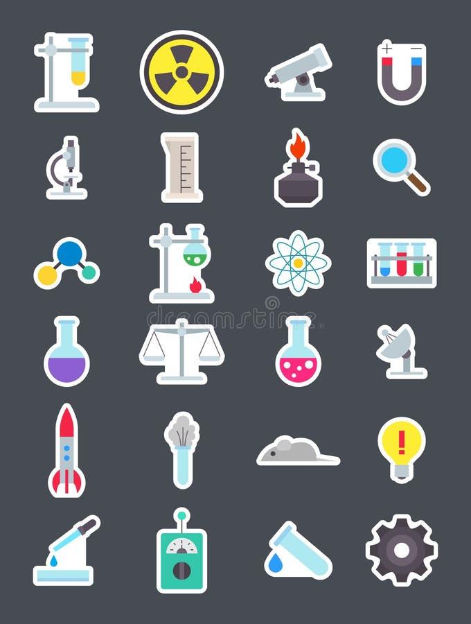 Icone di scienza messe illustrazione vettoriale