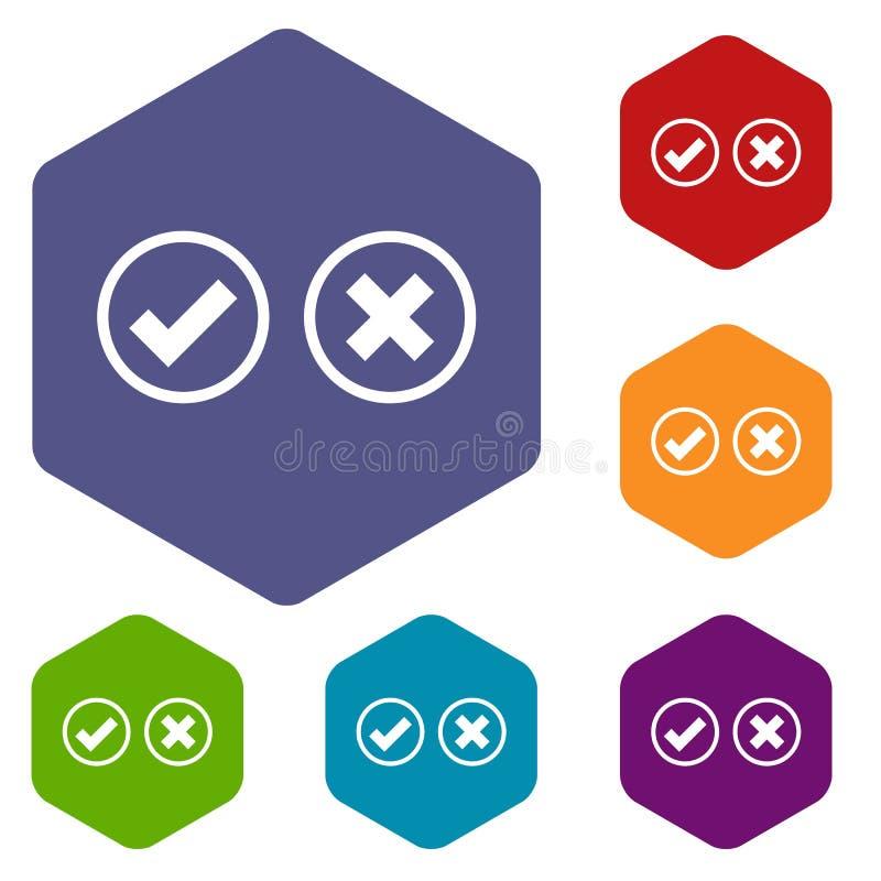 Icone di selezione dell'incrocio e del segno di spunta messe illustrazione di stock