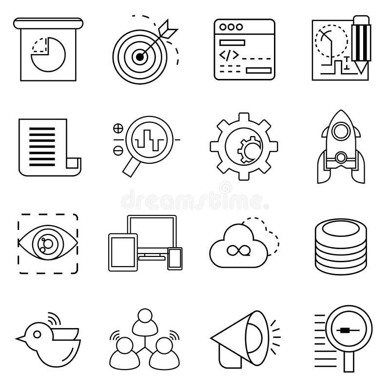 Icone di Seo, icone di analisi dei dati di web illustrazione vettoriale