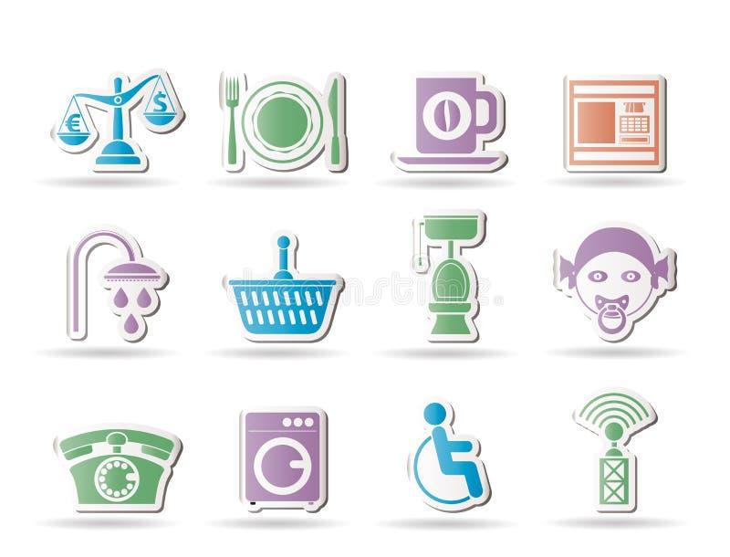 Icone di servizi del bordo della strada, dell'hotel e del motel royalty illustrazione gratis