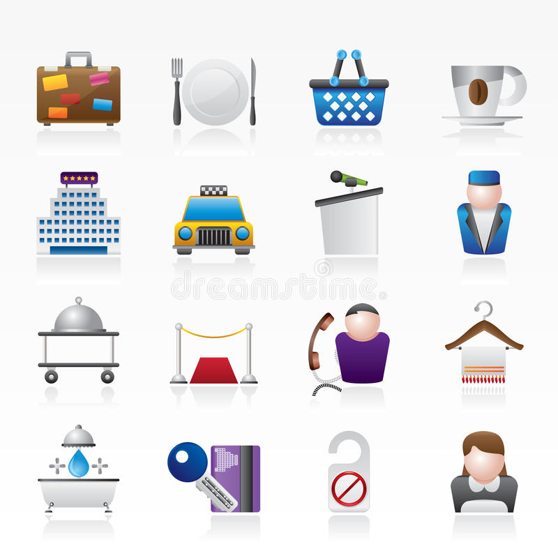 Icone di servizi del motel e dell'hotel illustrazione vettoriale