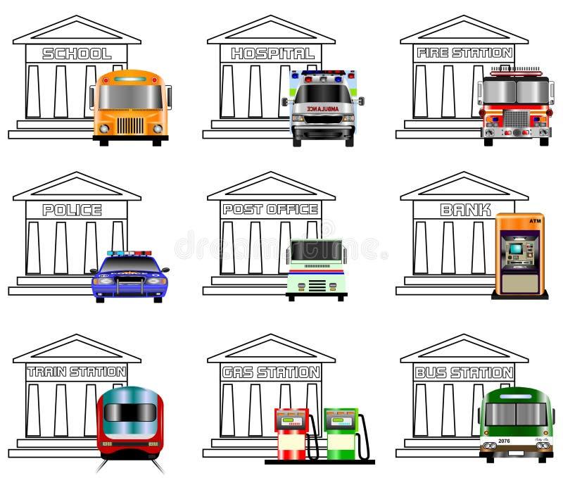 Icone di servizi pubblici royalty illustrazione gratis