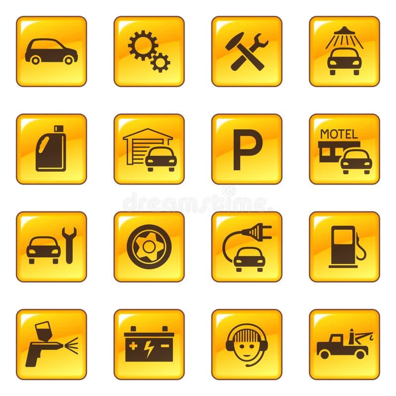 Icone di servizio & di riparazione dell'automobile royalty illustrazione gratis