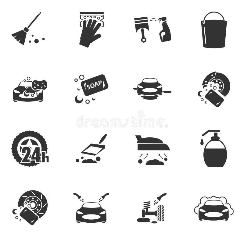Icone di servizio della doccia dell'autolavaggio messe royalty illustrazione gratis