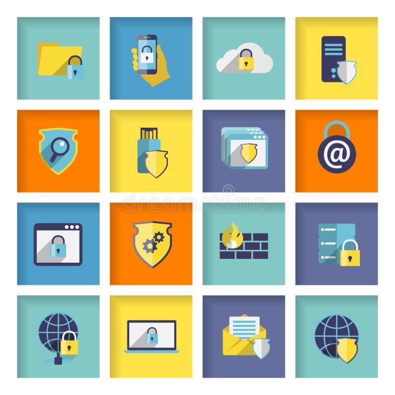 Icone di sicurezza di tecnologia dell'informazione messe illustrazione vettoriale