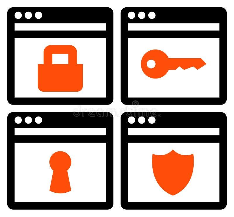 Icone di sicurezza di web royalty illustrazione gratis