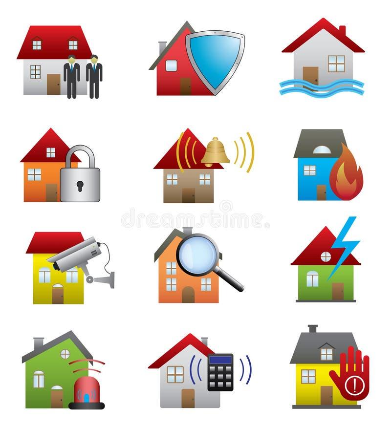 Icone di sicurezza domestica illustrazione di stock
