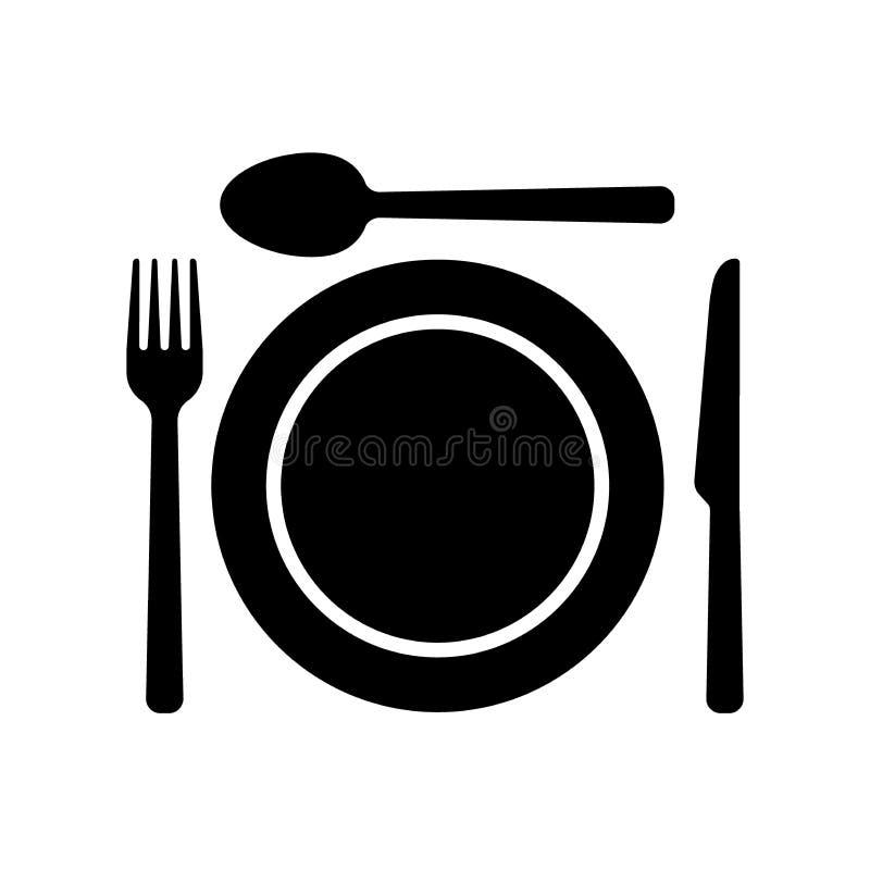 Icone di simbolo delle stoviglie Forcella, coltello del cucchiaio ed icone di un piatto royalty illustrazione gratis