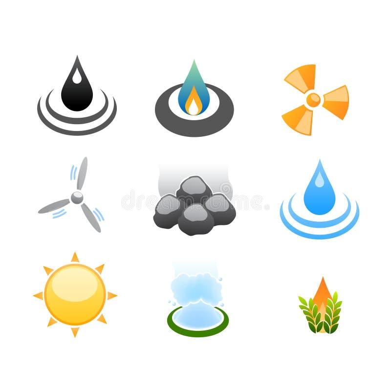 Icone di sorgenti di sviluppo di energia illustrazione di stock