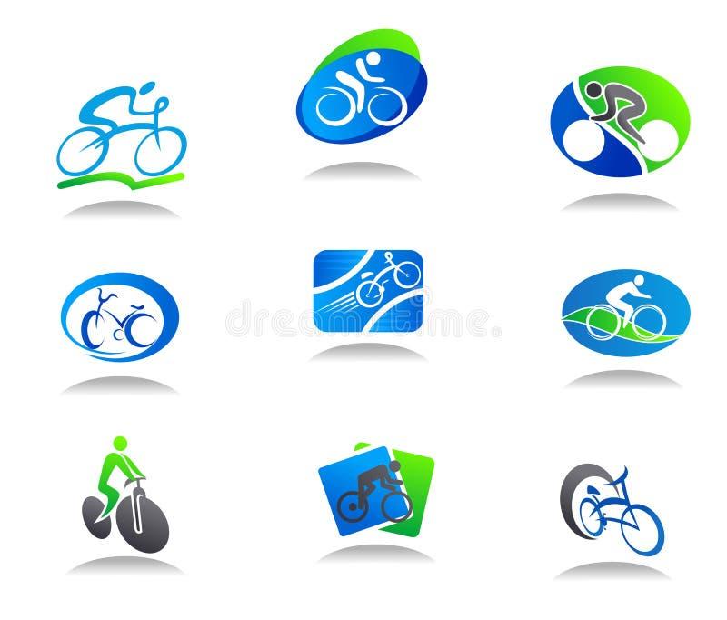 Icone di sport della bicicletta illustrazione vettoriale