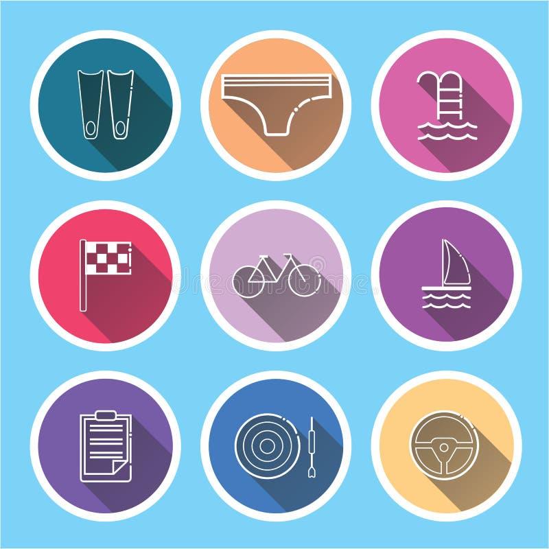 icone di sport messe sulle ombre lunghe blu illustrazione di stock