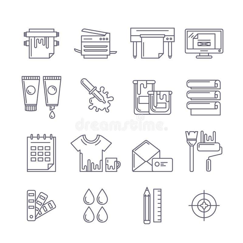Icone di stampa del profilo di vettore messe Stampatore, tracciatore, pitture e illustrazione vettoriale